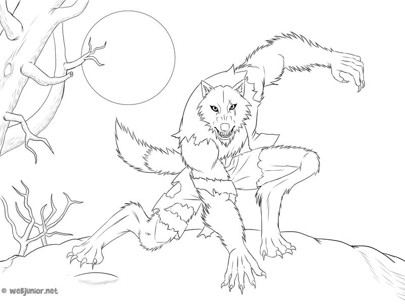 Le loup garou coloriage monstres gratuit sur webjunior - Coloriage de loup ...