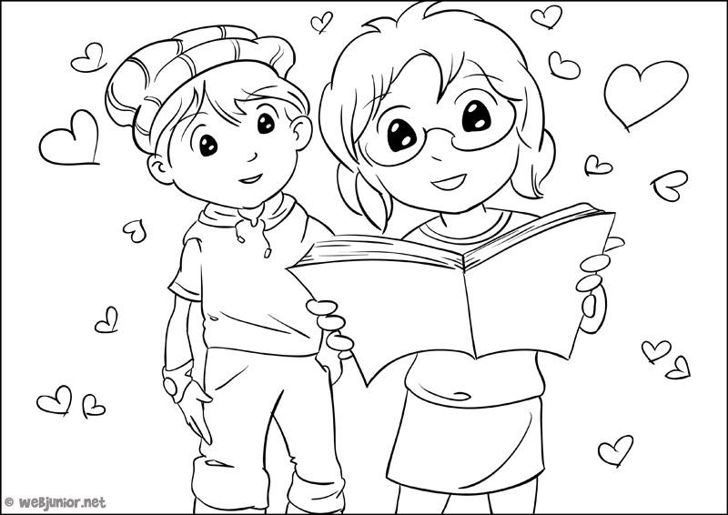 Deux amoureux coloriage personnages gratuit sur webjunior - Coloriage d amoureux ...
