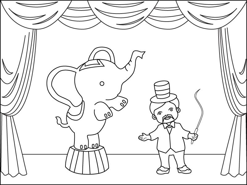 Au cirque le dresseur d 39 l phant coloriage occasions gratuit sur webjunior - Dessin d un elephant ...