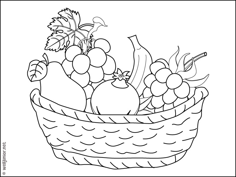 Panier de fruits coloriage nature gratuit sur webjunior - Fruits coloriage ...