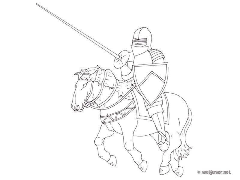 Le chevalier en tournoi coloriage personnages gratuit - Dessin armure ...