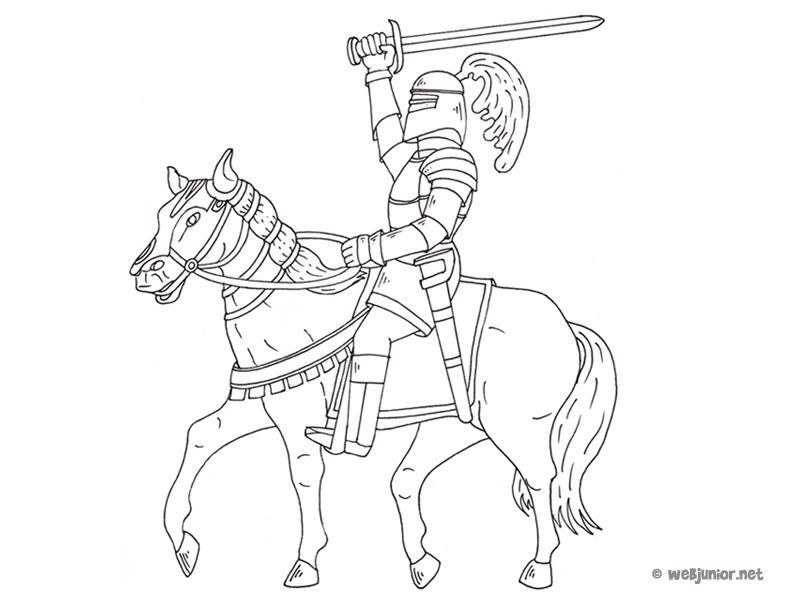 Le chevalier victorieux coloriage personnages gratuit - Imprimer un cheval ...