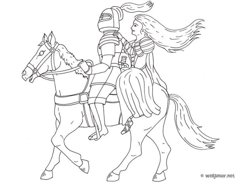 Chevalier et princesse sur un cheval coloriage - Dessin chevalier ...