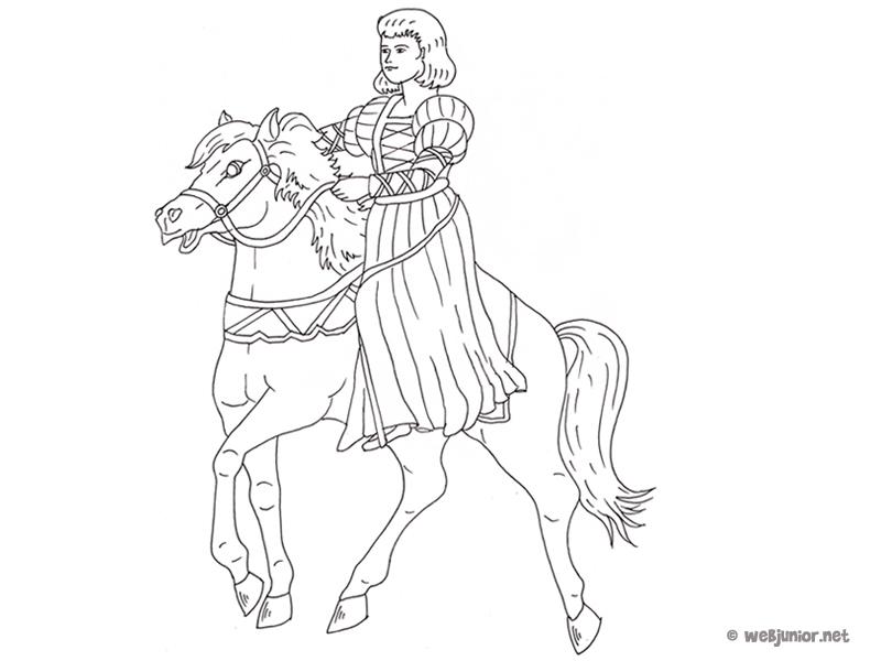 Jeune princesse sur son cheval coloriage princesses - Prince et princesse dessin ...