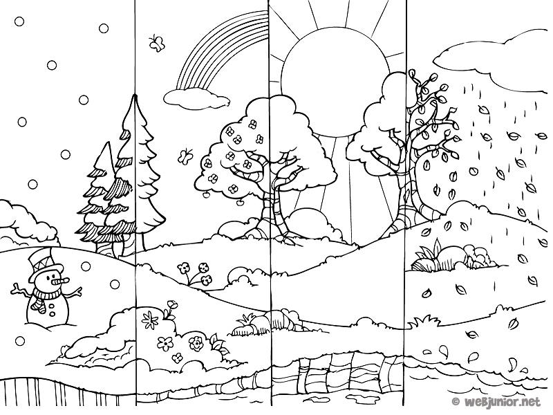 Coloriage De Printemps Primaire.Les 4 Saisons Coloriage Nature Gratuit Sur Webjunior