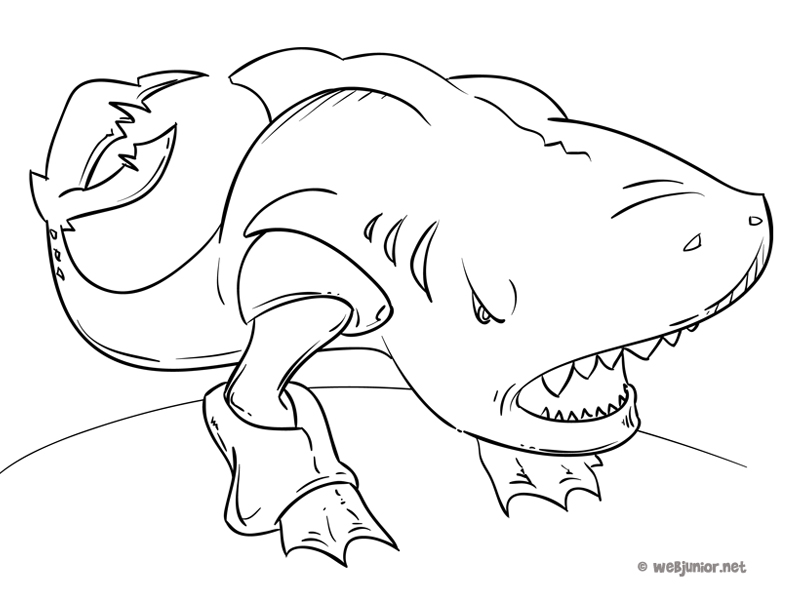 Requin terrestre coloriage monstres gratuit sur webjunior - Requin en dessin ...