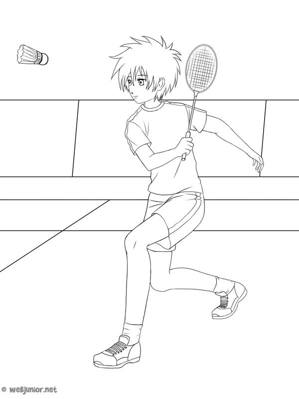 Joueur de badminton coloriage sports gratuit sur webjunior - Dessin raquette ...
