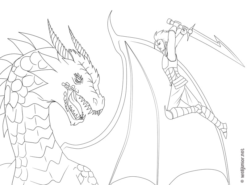 Le guerrier et le dragon coloriage mangas gratuit sur - Modele dessin dragon ...