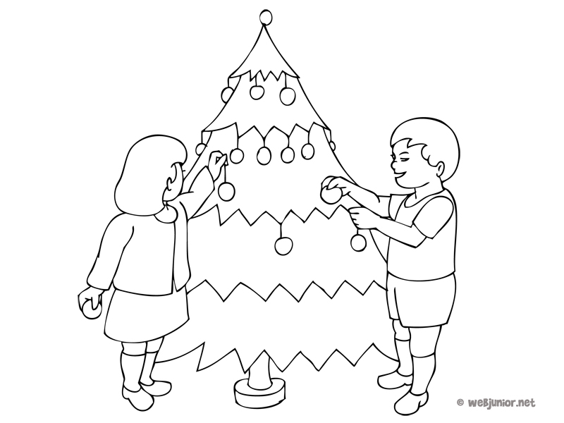 La d coration du sapin de no l coloriage occasions for Decoration de noel dessin