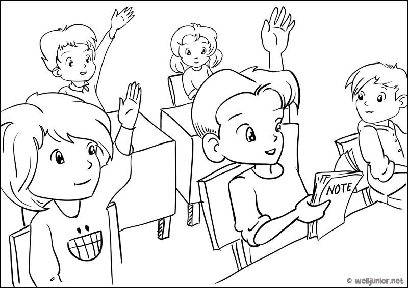 Coloriage Ecoliers Retour Ecole Enfants Dessin: Une Classe Studieuse : Coloriage Personnages Gratuit Sur