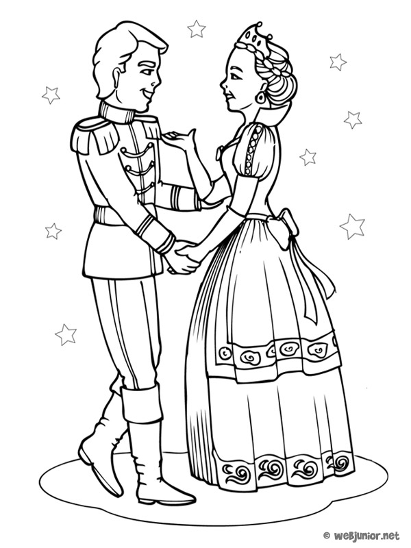 Coloriage Princesse De Bal.Le Couple Princier Coloriage Princesses Gratuit Sur Webjunior