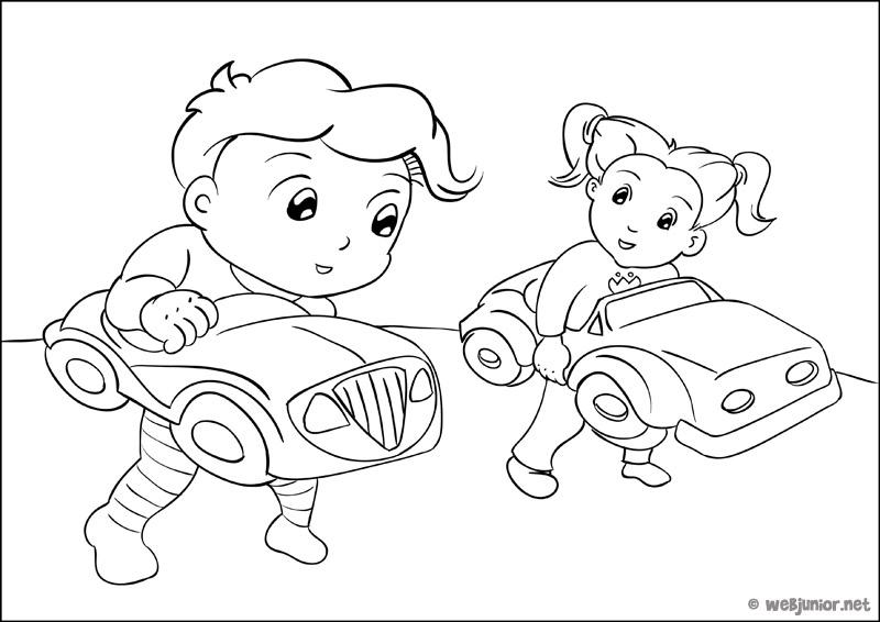 Coloriage Petite Fille Et Petit Garcon.Course En Pyjama Coloriage Personnages Gratuit Sur Webjunior