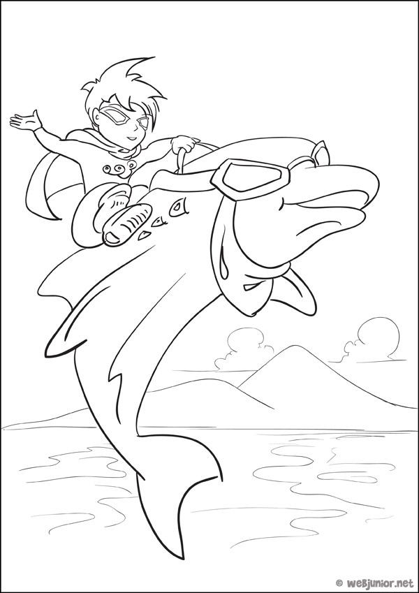 Dauphin boy coloriage mangas gratuit sur webjunior - Jeux de coloriage de dauphin ...