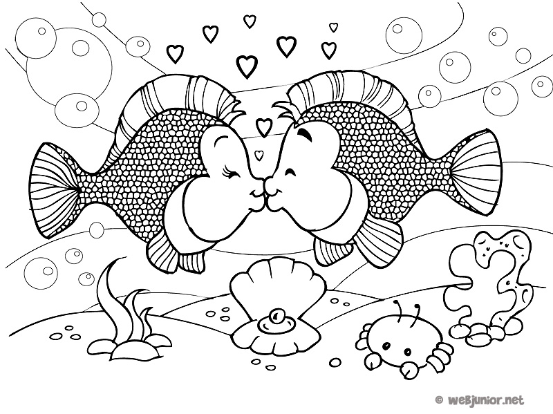 les poissons amoureux coloriage animaux gratuit sur webjunior. Black Bedroom Furniture Sets. Home Design Ideas
