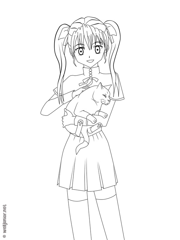 La fille au chat coloriage mangas gratuit sur webjunior - Coloriage manga rock ...