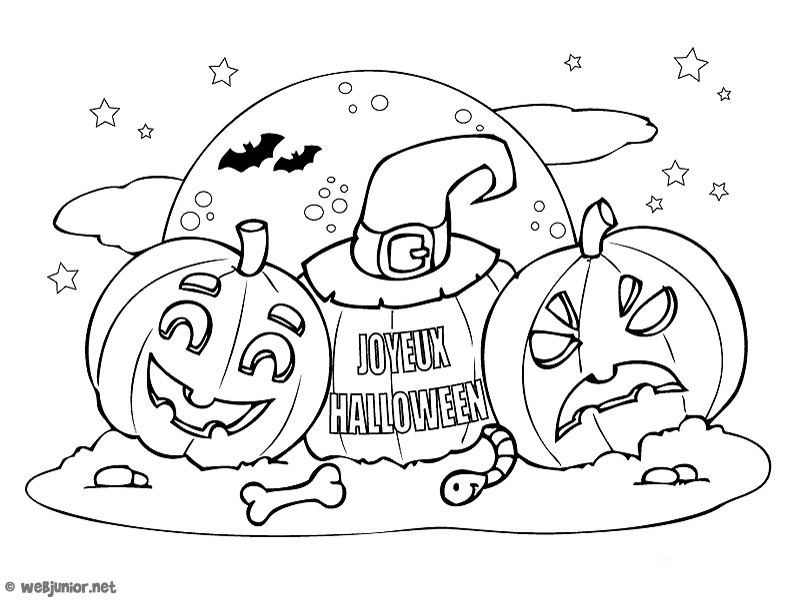 les citrouilles coloriage halloween gratuit sur webjunior. Black Bedroom Furniture Sets. Home Design Ideas