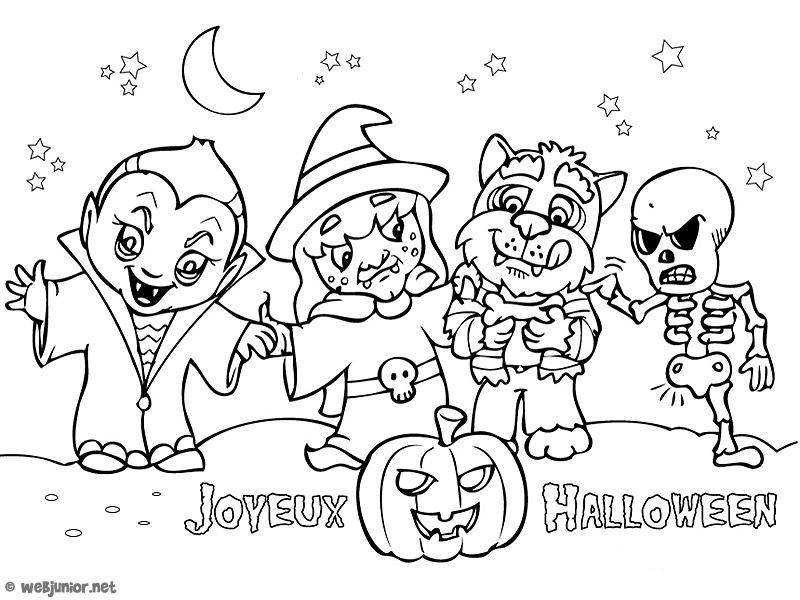 Les Enfants Déguisés : Coloriage Halloween Gratuit Sur Webjunior