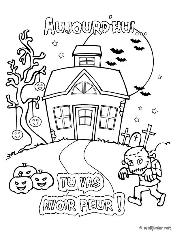 La maison hant e coloriage halloween gratuit sur webjunior - Dessin de maison hantee ...