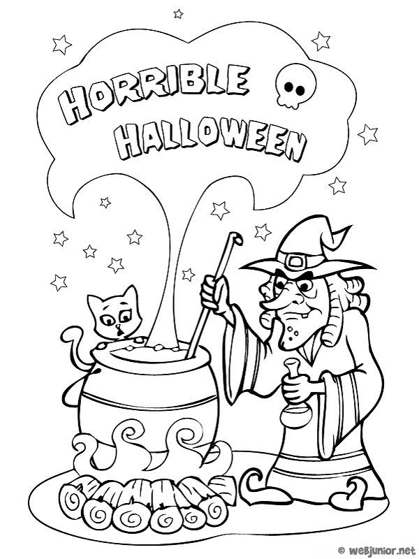 La marmite de la sorci re coloriage halloween gratuit - Dessin sorciere halloween ...