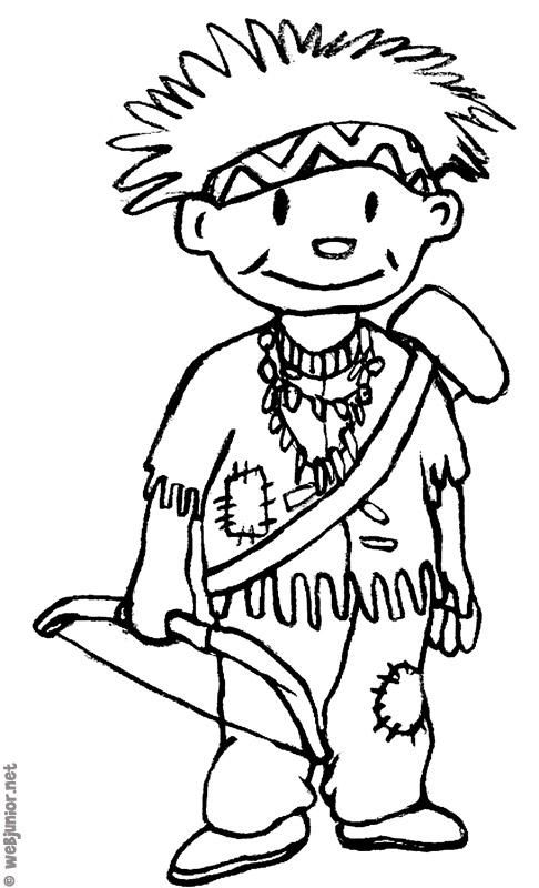 Petit indien coloriage personnages gratuit sur webjunior - Indien coloriage ...