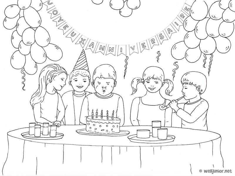 La f te d 39 anniversaire coloriage occasions gratuit sur webjunior - Comment dessiner une bougie ...