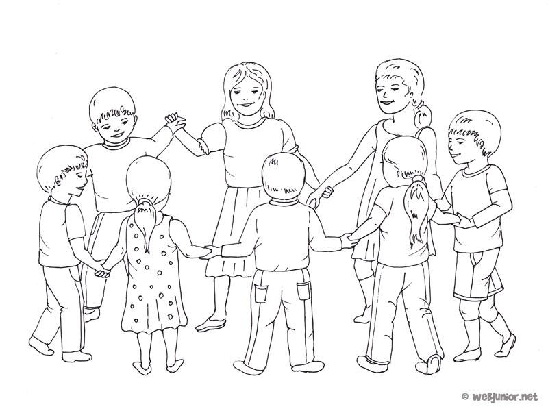 La ronde des enfants coloriage occasions gratuit sur - Dessin main enfant ...