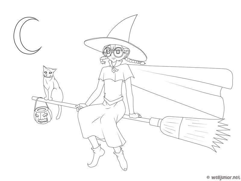 La petite sorci re coloriage halloween gratuit sur webjunior - Coloriage gratuit mini sorciere ...