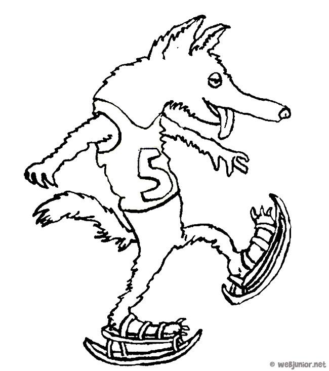 Loup patineur coloriage animaux gratuit sur webjunior - Petit loup dessin ...