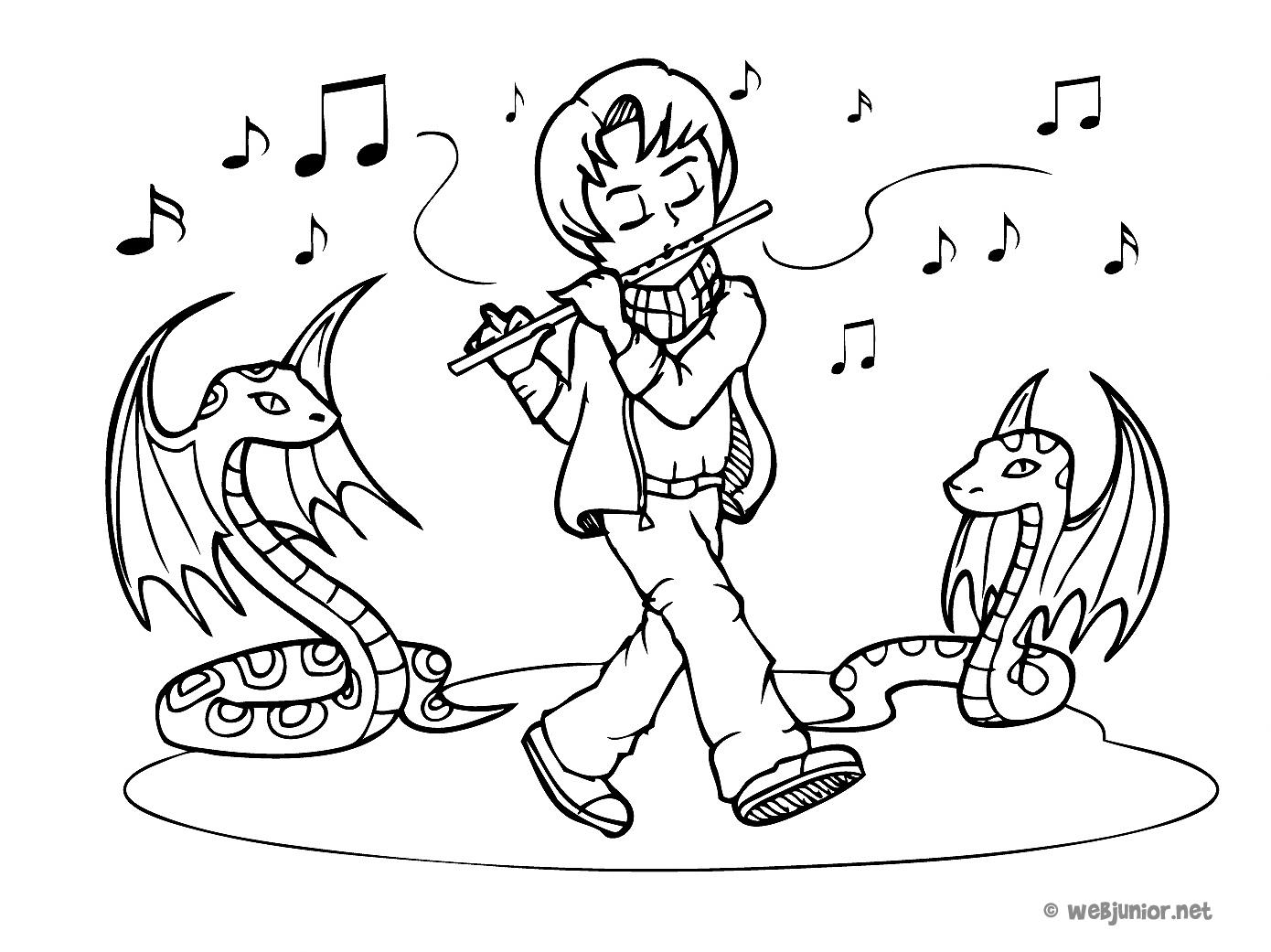 Le joueur de fl te coloriage mangas gratuit sur webjunior - Dessin de flute ...