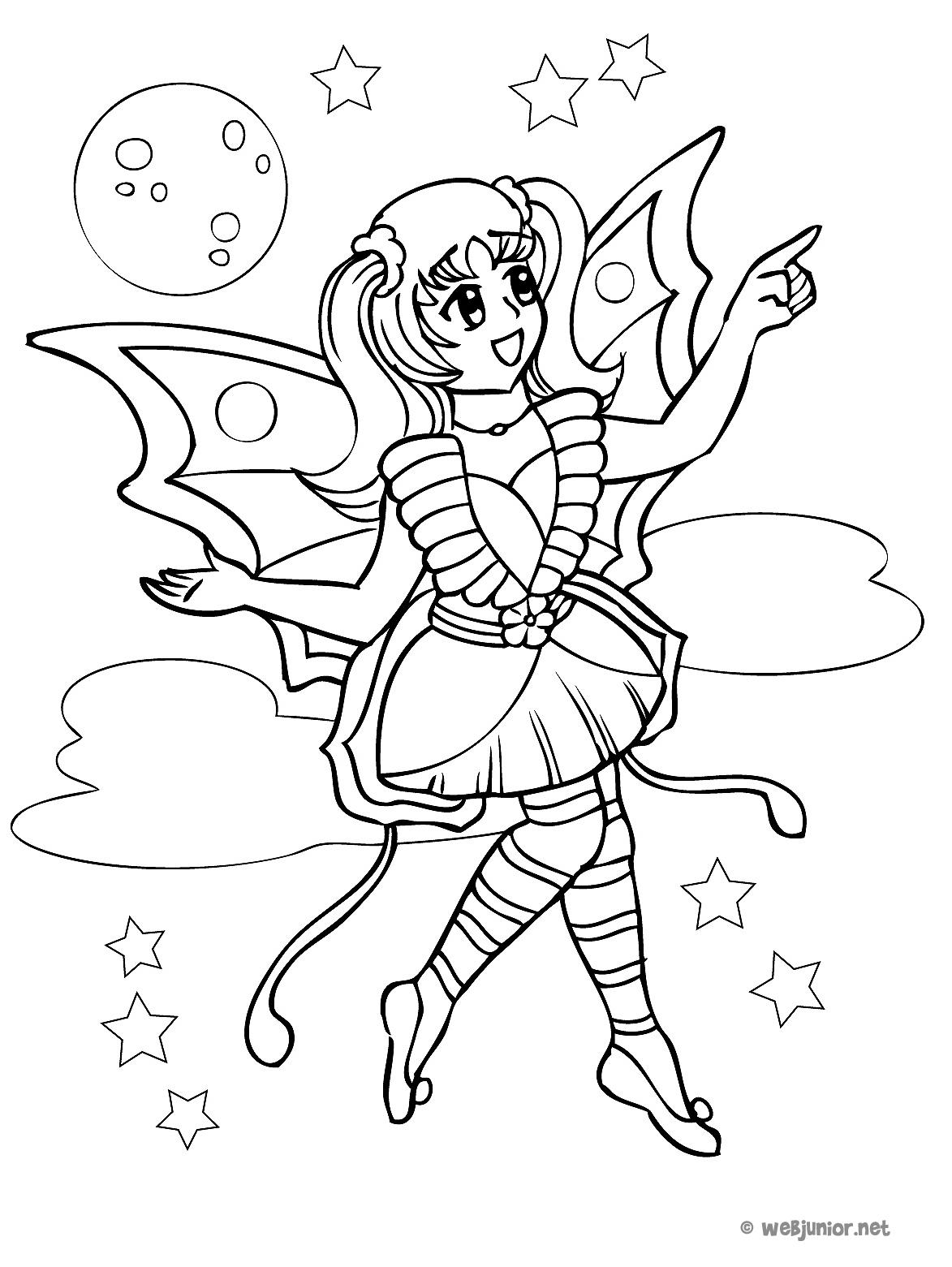 Coloriage Famille Papillon.La Fee Papillon Coloriage Mangas Gratuit Sur Webjunior