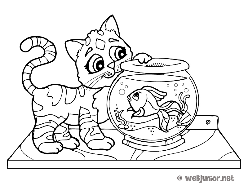Le chat et le poisson rouge coloriage animaux gratuit for Aquarium poisson rouge dessin