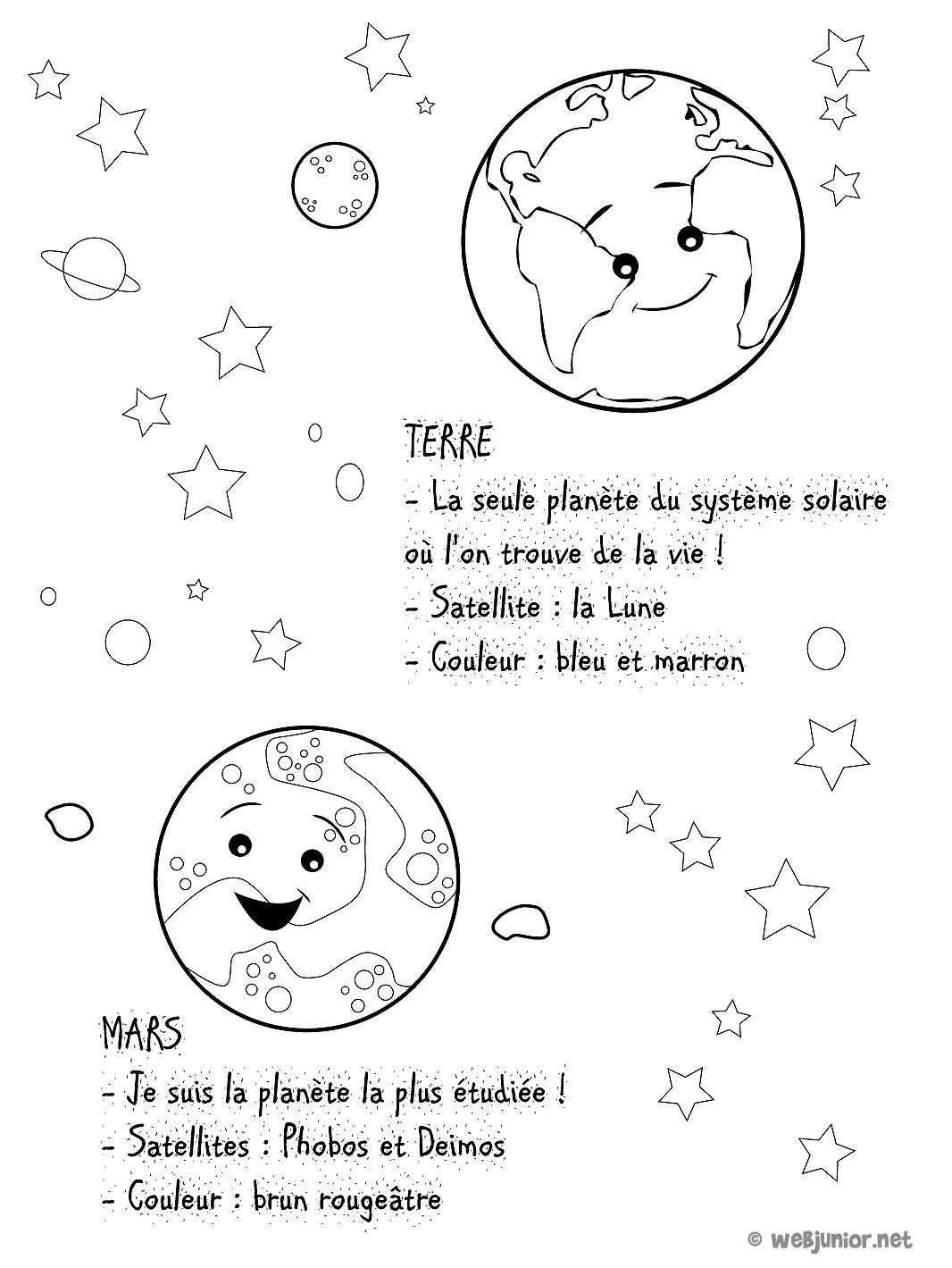Planetes La Terre Et Mars Coloriage Sciences Gratuit Sur Webjunior
