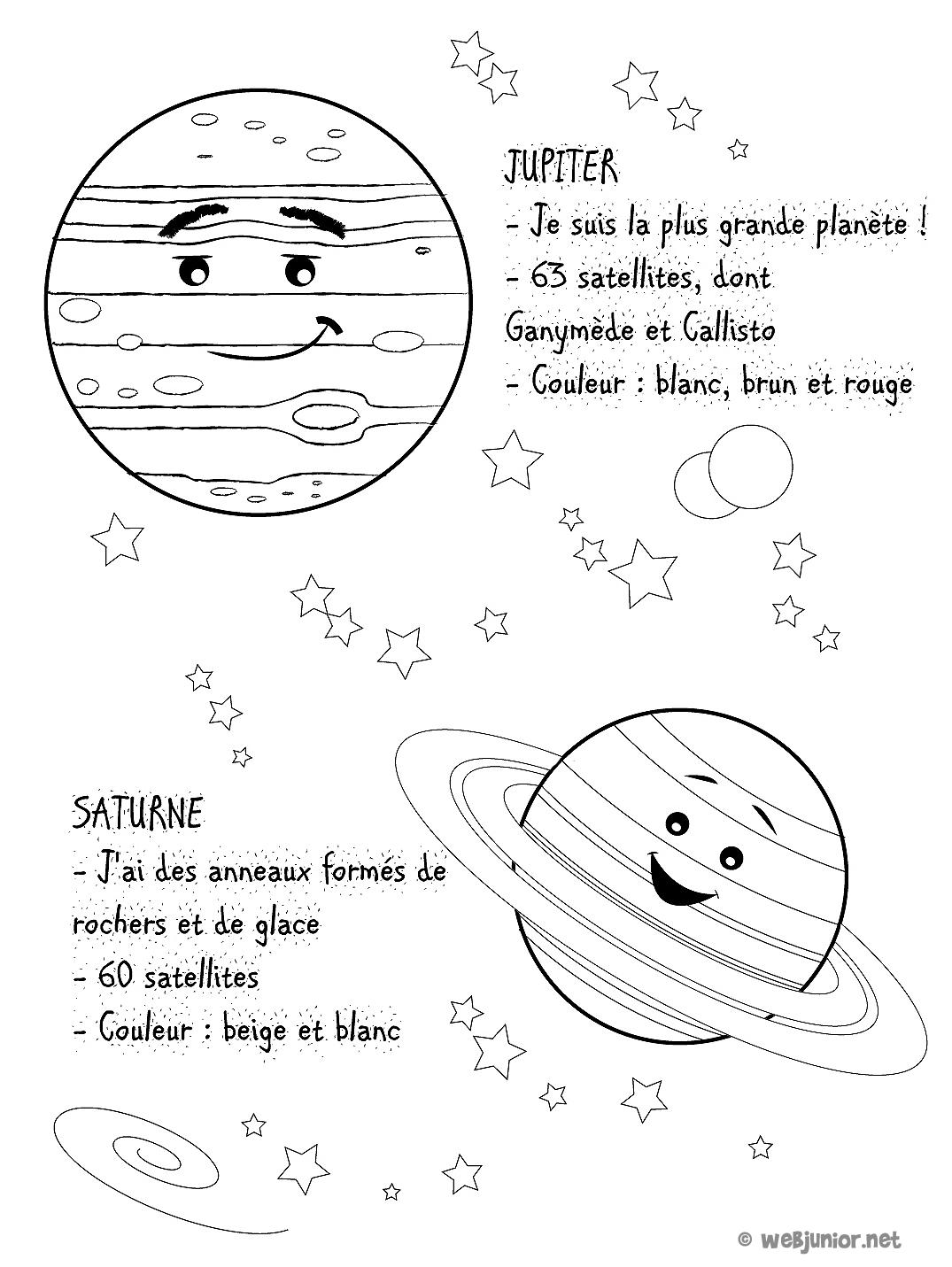 Planetes Jupiter Et Saturne Coloriage Sciences Gratuit Sur