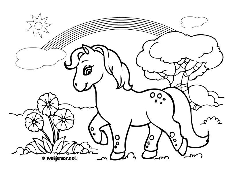 Poney sous un arc en ciel coloriage animaux gratuit sur - Coloriage ciel ...