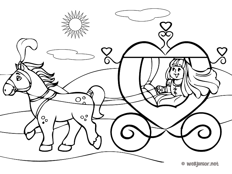 La princesse et son carrosse coloriage princesses - Coloriage carrosse ...