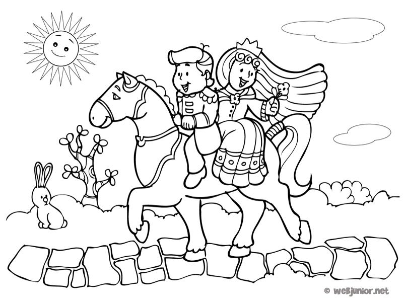 Couple princier cheval coloriage princesses gratuit - Prince et princesse dessin ...