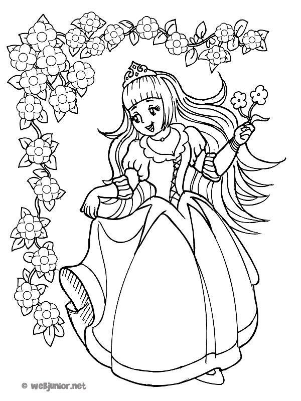 La princesse aux fleurs coloriage princesses gratuit sur webjunior - Coloriage la fleur ...