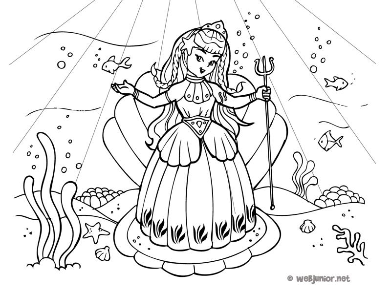 Une princesse sous les mers coloriage princesses gratuit - Coloriage des princesses ...