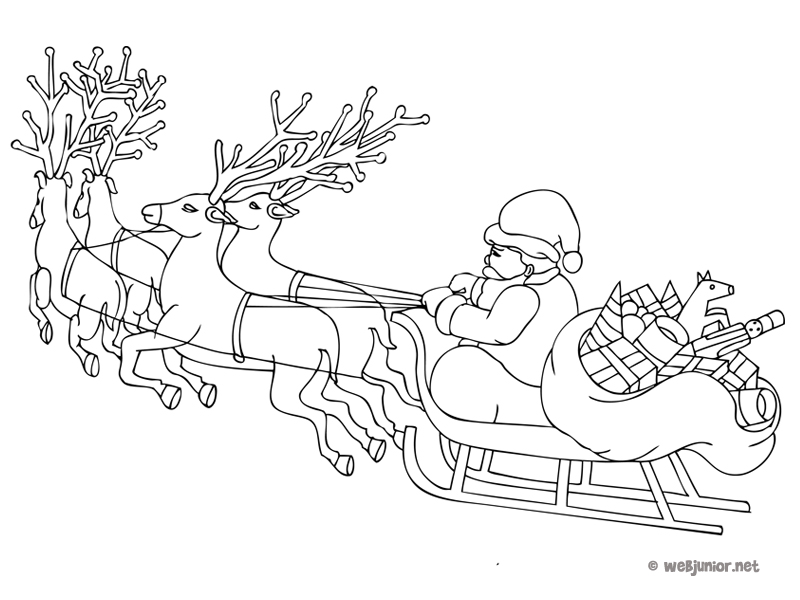 Le Traineau Du Père Noël Coloriage Occasions Gratuit Sur