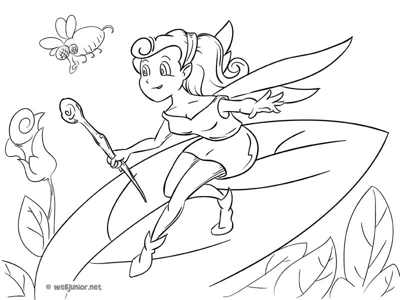 La petite f e guerri re coloriage personnages gratuit sur webjunior - Manga coloriage elfe ...