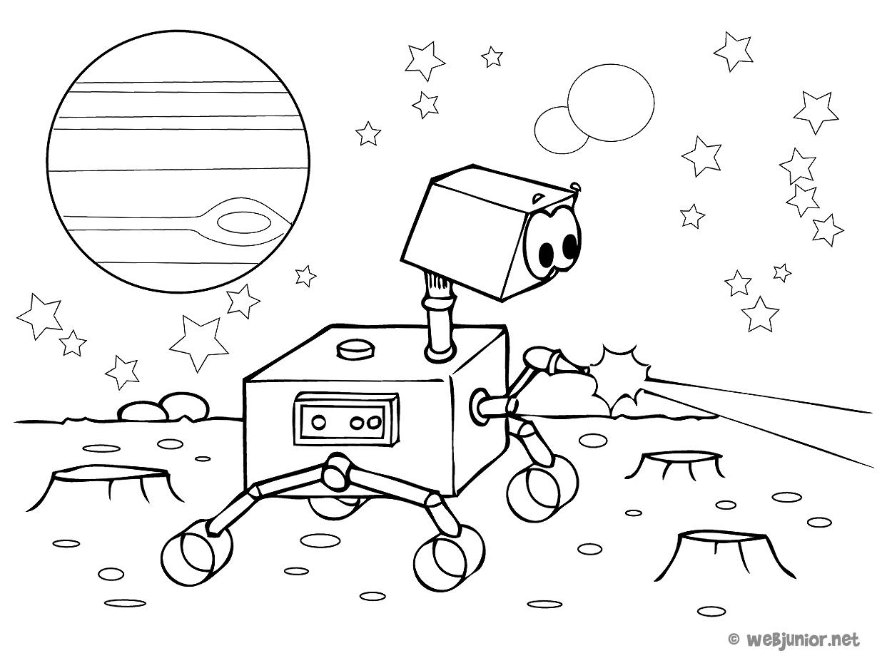 Un Petit Robot Dans L Espace Coloriage Personnages Gratuit Sur