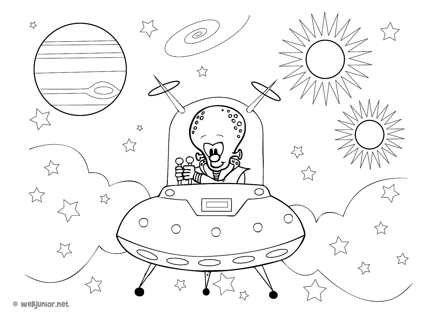 Un alien dans sa navette coloriage personnages gratuit sur webjunior - Dessin extra terrestre ...