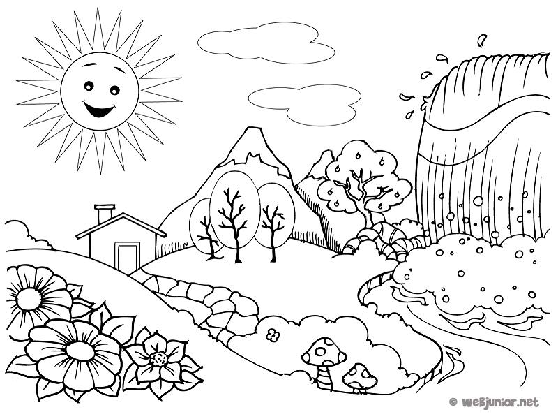 C Est Le Printemps Coloriage Nature Gratuit Sur Webjunior