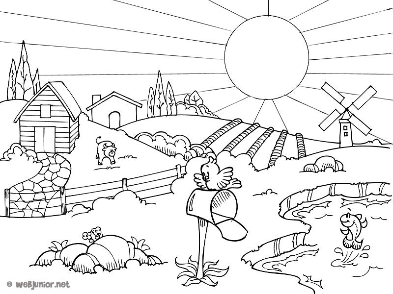 L 39 t la campagne coloriage nature gratuit sur webjunior for Vacances d ete a la montagne avec piscine