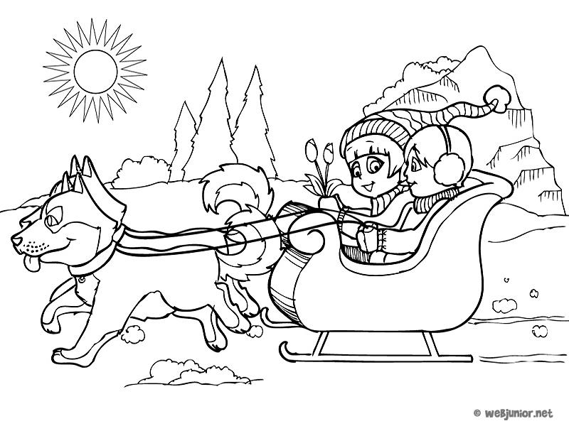 Le traineau coloriage vacances gratuit sur webjunior - Paysage de noel dessin ...
