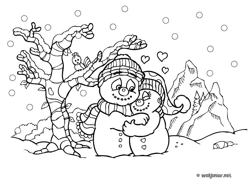 Deux bonhommes de neige coloriage personnages gratuit - Coloriage hivers ...