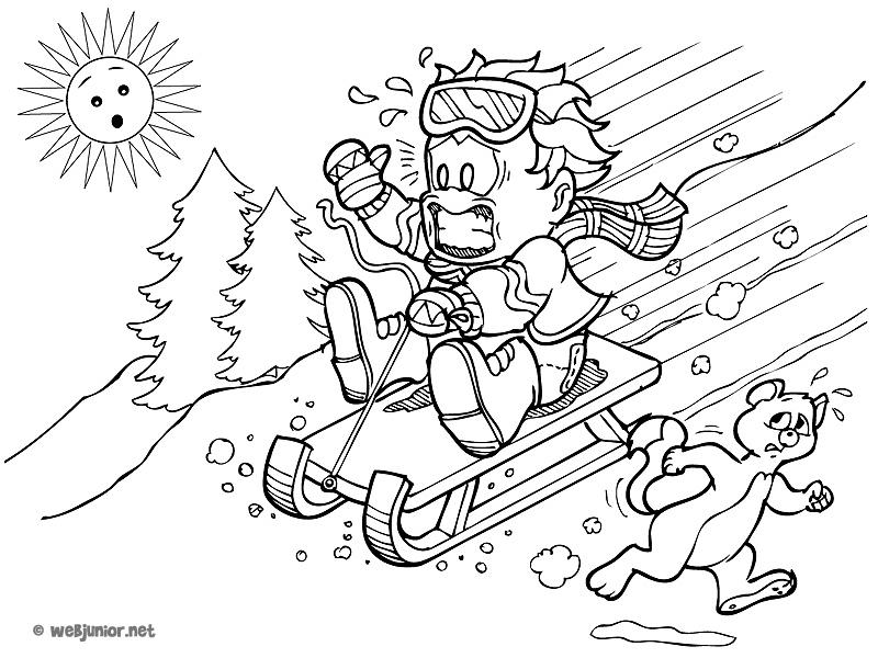 La luge folle : coloriage Vacances gratuit sur Webjunior