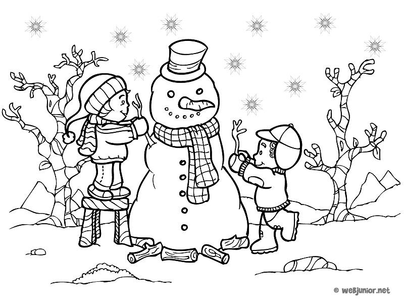 Un bonhomme de neige coloriage vacances gratuit sur - Dessin de vacances ...