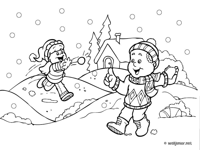 Bataille de boules de neige : coloriage Vacances gratuit sur Webjunior