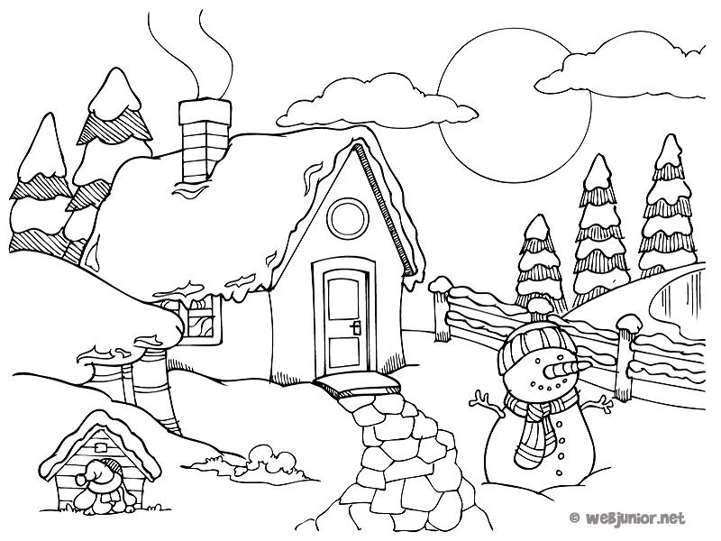 Un chalet sous la neige coloriage nature gratuit sur - Dessin a colorier paysage ...